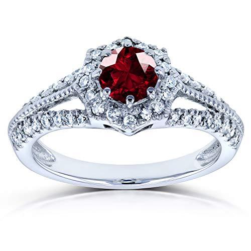 Vintage Garnet & Diamond Engagement Ring 7/8 Carat (ctw) in 14k White Gold, Size 7, White Gold