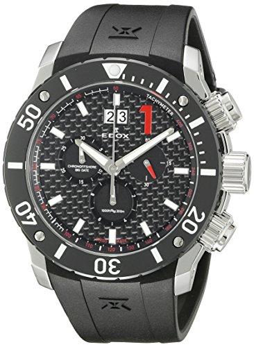 Edox Men's 10020 3 NIN Chronoffshore Analog Display Swiss Quartz Black Watch