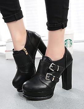 Zapatos de mujer rolliza tacón punta redonda botas vestido/casual negro/Beige beige-