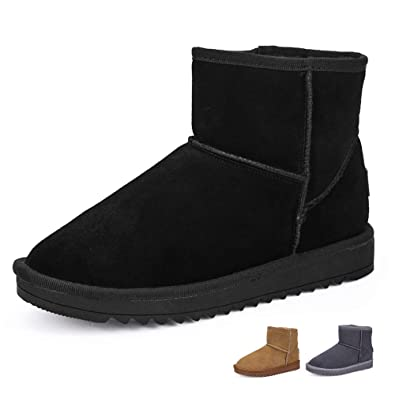 6b50cb5f00e HangFan Women Snow Boots Classic Warm Winter Boots Fur Lined Comfy Flat  Ankle Shoes Boots Black