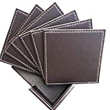 Coasters for Drinks, Leather Coasters with Holder(6 Pack),Protect Furniture from Water Marks Scratch and Damage (Square, Coffee)