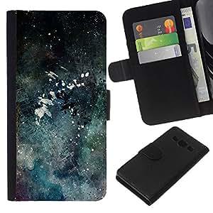 WINCASE Cuadro Funda Voltear Cuero Ranura Tarjetas TPU Carcasas Protectora Cover Case Para Samsung Galaxy A3 - arte moderno chapoteo del color de la acuarela