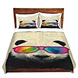 DiaNoche Designs Microfiber Duvet Covers Madame Memento - Panda Bear Rainbow Sunglasses