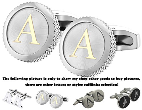 GGemony Cufflinks for Men Classic Engraved Initial Cufflinks Alphabet Letter Cufflinks Formal Wedding Business Gift Box A-Z