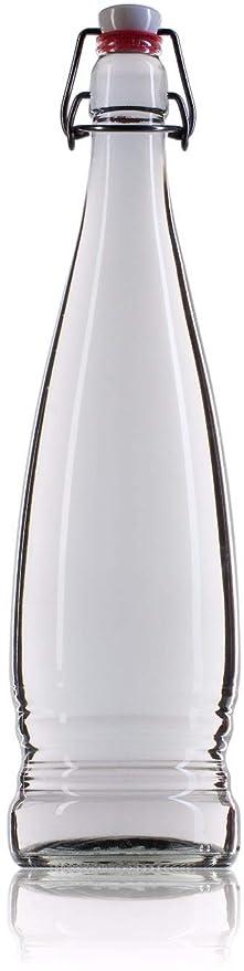 Botella Agua Cristal Vidrio 1 Litro Tapón Cierre Mecánico Hermético Transparente