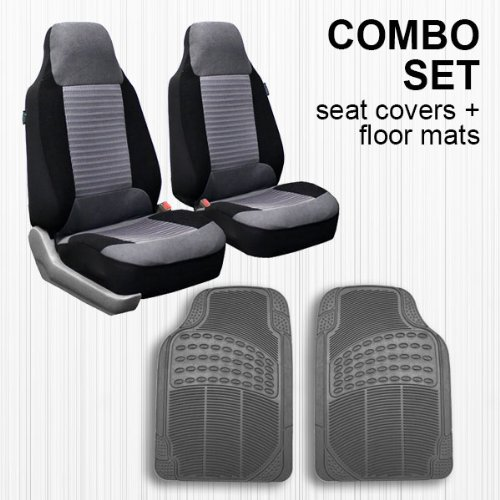 Front Vinyl Floor Cover - FH GROUP FH-FB107102 + V16404FRONT: Gray Modern Flat Cloth Bucket Seat Covers and Gray Vinyl Front Floor Mats