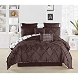 8 Pieces Reversible Bedding Chocolate Queen Pintuck Pinched Pleat Patterned Comforter Set, Dark Brown Shabby Chic Adult Bedding Master Bedroom French Country Vibrant Colorful Elegant, Polyester