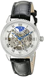 Stuhrling Original Men's 835.01 Special Reserve Automatic Skeleton Stainless Steel Watch With Black Leather Band