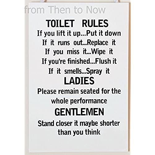 Wooden Funny Plaque Sign Toilet Rules Bathroom