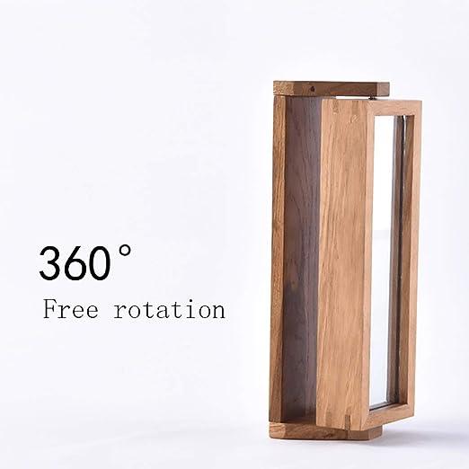 Cajas y percheros para sombreros Clave de madera maciza nórdica que cuelga  360 ° caja giratoria de roble   espejo de maquillaje de perchero giratorio  de ... 950d82eaf92