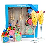 Sweet Bliss Candy & Champagne Flute Gift Set: Includes 2 Gold-Accented Champagne Flutes