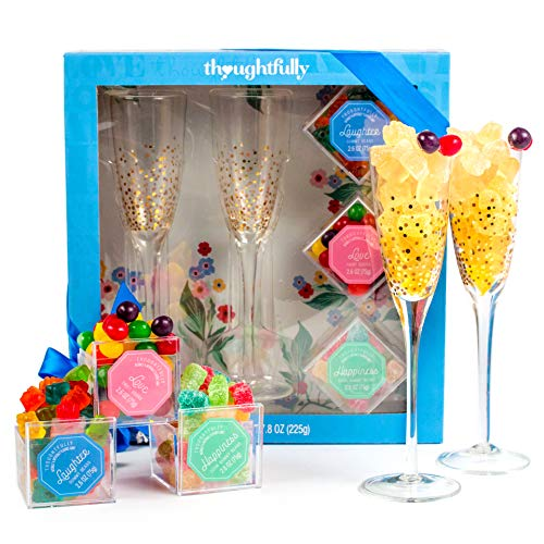 Thoughtfully Gifts, Sweet Bliss Candy and Champagne Flute Gift Set, Includes 2 Gold-Accented Champagne Flutes and Premium Gummies Candies ()
