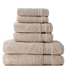 Welspun HygroSoft Fast Drying and Absorbent 100% Cotton 6-piece Towel Set, Sand