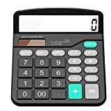 Everplus Calculator, Everplus Electronic Desktop Calculator with 12 Digit Large Display, Solar Battery LCD Display Office Calculator,Black