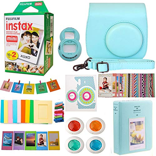 (9 in 1 Fujifilm Instax Mini 9 8 Instant Camera Ice Blue Accessories Bundle - Fujifilm INSTAX Mini Instant Film Twin Pack 20 Shoots - Blue Case, Selfie Lens, Colored Filters, Frames, Stickers and More)