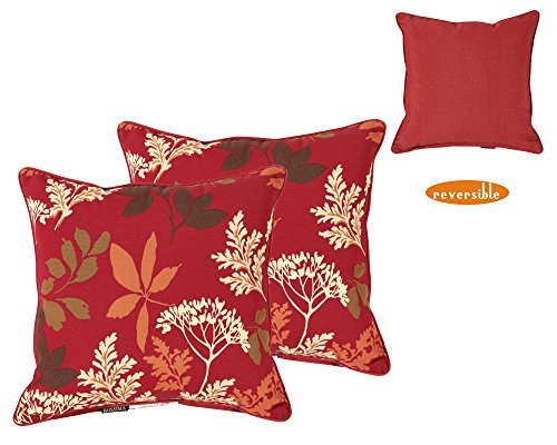 Bossima Indoor/Outdoor Red/Brown Floral Square Toss Pillow, Corded, Set of 2 Accessories Square Toss Pillow