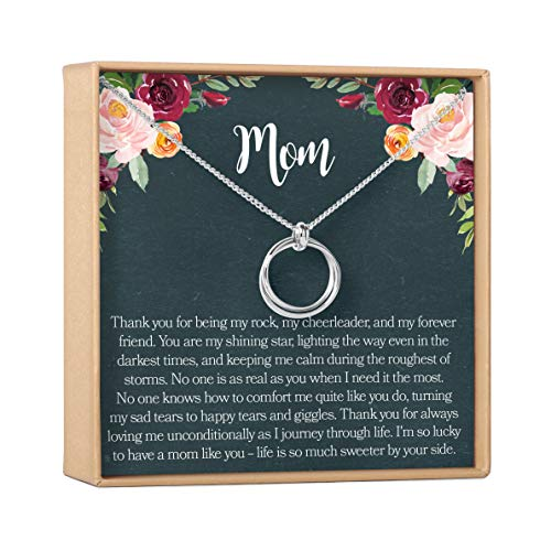 Mom Gift Necklace: Mother Daughter Jewelry, Thank You Mom, 2 Linked Circles (silver-plated-brass, NA)