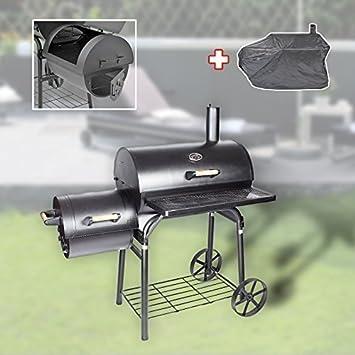 XL profesional Smoker BBQ Barbacoa con carbón 1,5mm Acero Locomotora + campana