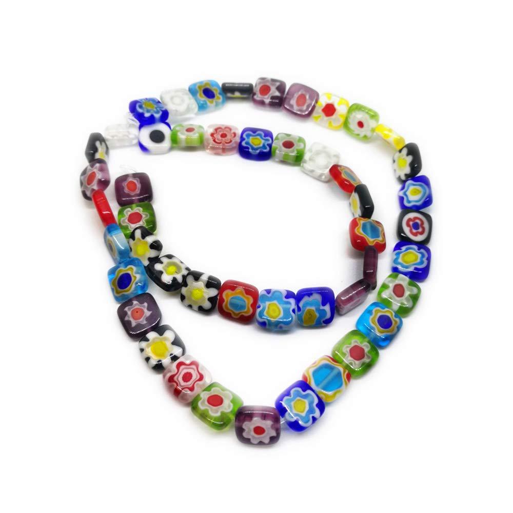 Beading Station 95-Piece Tiny Millefiori Flower Lampwork Glass Round Beads 4mm