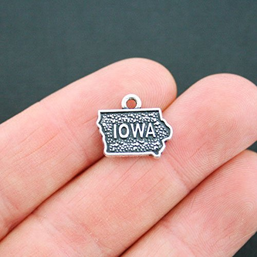 (4 Iowa Charms Antique Silver Tone 2 Sided State Charm - SC5215 )