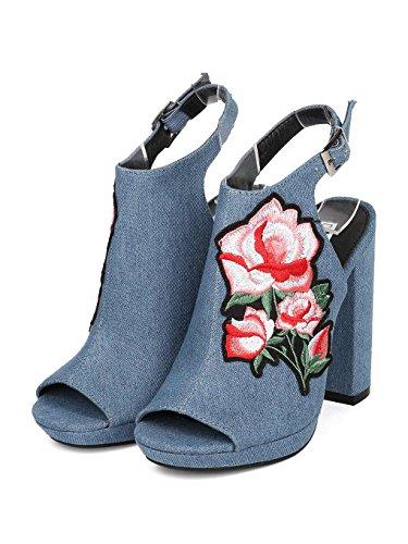 CAPE ROBBIN Women Denim Peep Toe Embroidered Block Heel Mule HJ85 - Denim (Size: 10) by CAPE ROBBIN (Image #4)