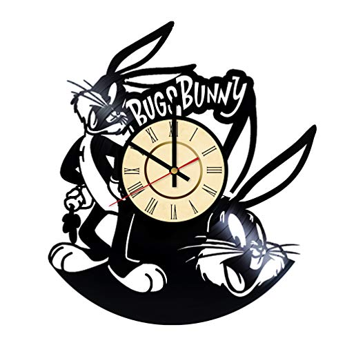 Bugs Bunny Vinyl Clock Gifts for Disney Fans Rabbit & Carrot Wall Decor Hare Art Looney Tunes Handmade Merrie Melodies Living Room Artwork