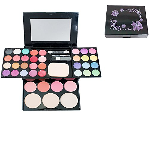 Makeup Palette Set - Zinnor Makeup Palette Set, 3 Layers with 24 Colors Eyeshadow + Palette 8 Colors Lipstick + 3 Colors Makeup Powder + 4 Colors Blusher with Brush and Mirror, Pro Warm Colors Matte Shimmer Eyeshadow Pale