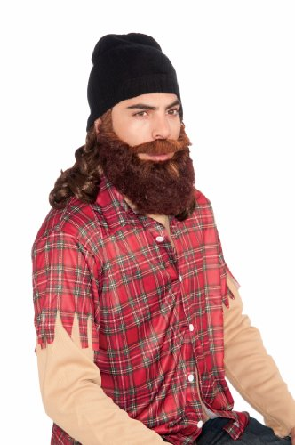 Duck Hunter Costumes (Duck Hunter Costume Beanie W/Attached Brown Wig & Beard Set Adult One Size Fi...)