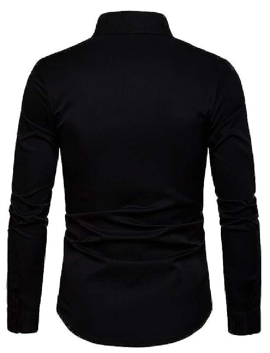 Hajotrawa Mens Button Front No Iron Casual Long Sleeve Dress Shirt