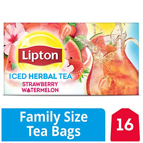 Lipton Family Herbal Iced Tea Bags, Strawberry Watermelon, 16 count