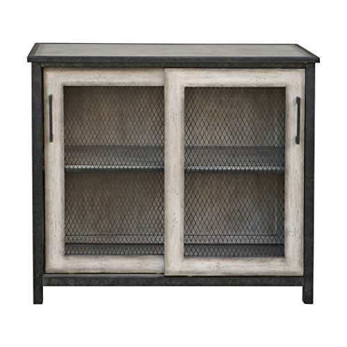 Antique Style Wire Mesh Sliding Door Accent Cabinet | Pie Safe Cottage Shelf