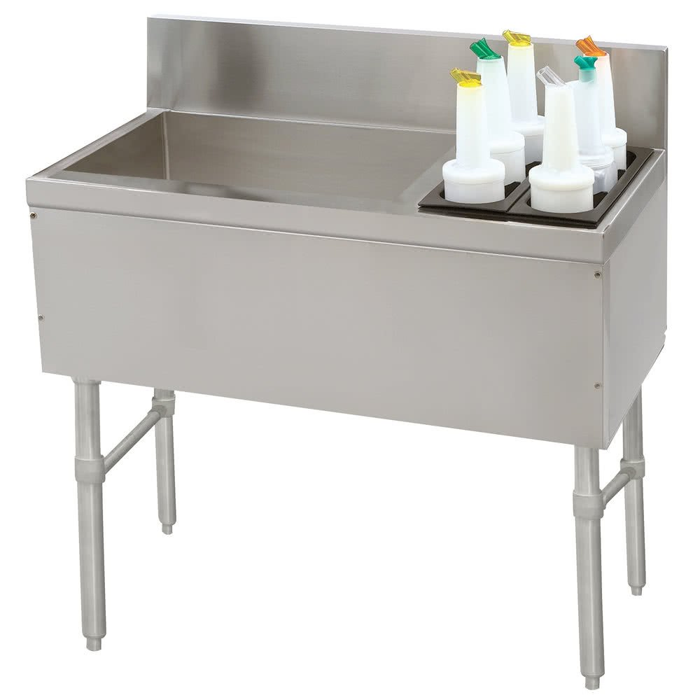 Advance Tabco PRC-19-48L-10 Prestige Series Stainless Steel Ice Bin and Bottle Storage Combo Unit with 10-Circuit Cold Plate - 20'' x 48'' (Left Side Ice Bin)