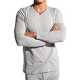 D&P Men\'s Warm Thermal Underwear Pajamas 2 Piece Sets XS-L (XS, Heather Grey)