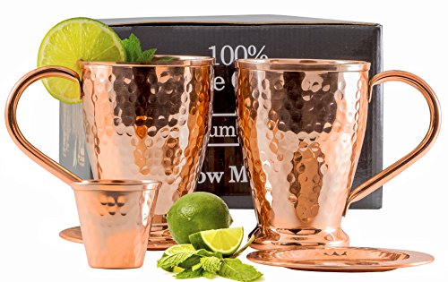 Moscow Mule Copper Mug Set - Protect your Furniture with Pure Copper Coasters (2) for Cocktails & Moscow Mules- Kamojo Gift Set of 2
