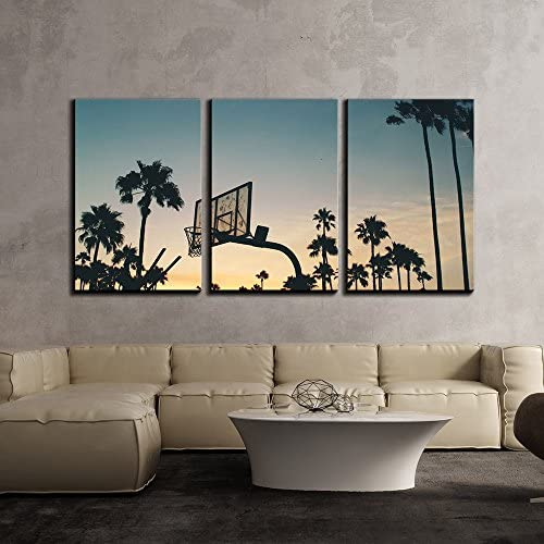 Basketball Stands and Palm Trees Under The Sunset x3 Panels