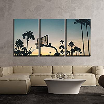 3 Piece Canvas Wall Art - Basketball Stands and Palm Trees Under The Sunset - Modern Home Art Stretched and Framed Ready to Hang - 16