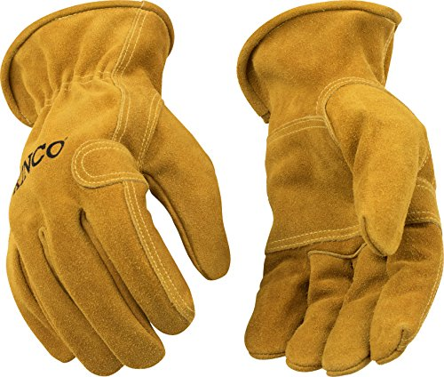 Kinco 97-L-1 Full Suede Cowhide, Reinforcing Leather Palm Patch, Easy-On Cuff, Ergonomic Keystone Thumb, Turned Leather Hem, Size: L