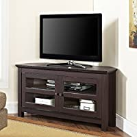 TV Console Stands 44 Espresso Wood Corner Furniture Storage Flat Television Cabinet with Mounts Plasma Entertainment Center