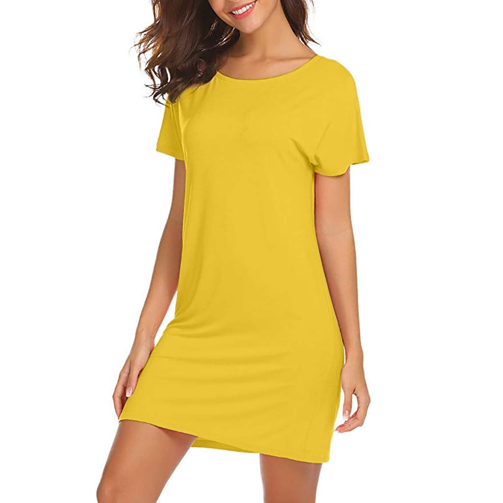 Amazon.com: YKARITIANNA Women Casual Solid Above Knee Dress Sleeve Loose Beach Party Mini Dress