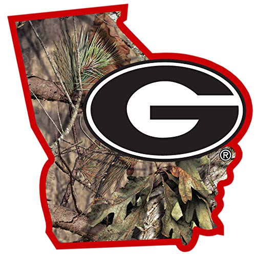 Siskiyou NCAA Georgia Bulldogs State Decal w/Mossy Oak Camo, Green