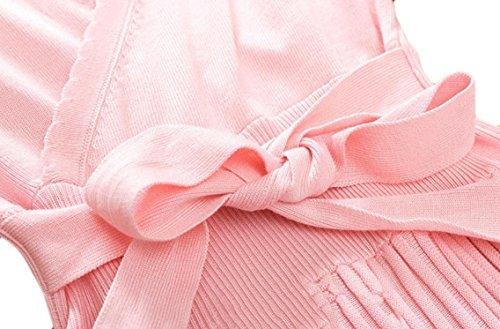 Coolred-femmes Vogue Manches Longues Moulantes Plissé Col V Mi Robe Longueur Rose