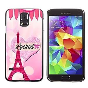 LECELL--Funda protectora / Cubierta / Piel For Samsung Galaxy S5 SM-G900 -- Heart Eifel Tower Pink Love Paris --