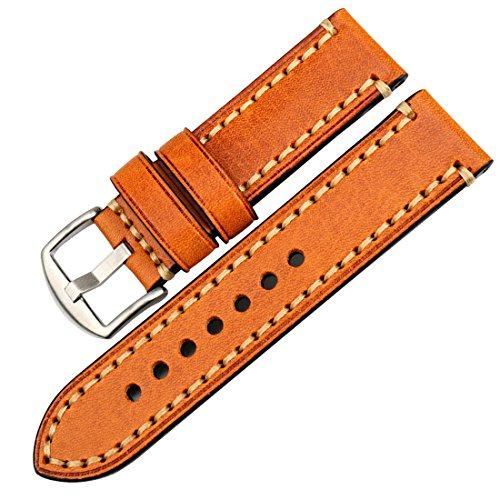 MAIKES Watch Band, Genuine Leather Watch Strap 20mm 22mm 24mm 26mm with Stainless Steel Buckle Watchband (Band Width 22mm, Light Brown+Silver Buckle)
