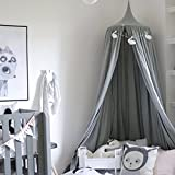 Quieting Children Bed Canopy Kids Baby Curtain Bed Cotton Round Dome Tent Grey