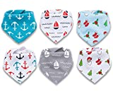 6-Pack Corewill Baby Bandana Drool Bibs, 100% Organic Cotton Bibs for Teething and Drooling, Soft and Absorbent, Hypoallergenic Baby Shower Gift Set for Boys and Girls