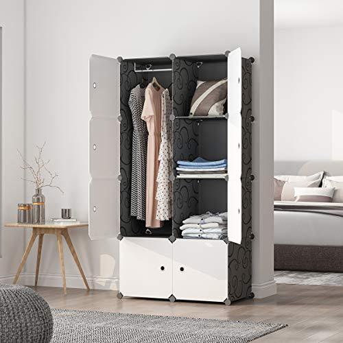 MAGINELS Portable Wardrobe Closets 14″x18″ Depth Cube Storage, Bedroom Armoire, Storage Organizer with Doors, 8 Cubes, Black