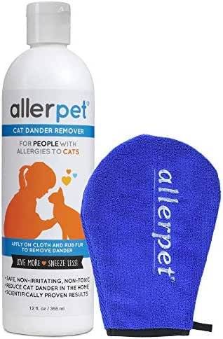 Allerpet Cat Pet Dander Remover - Ditch Allergy Shampoo & Deshedding Tools Gives Best Allergen Relief, 100% Non-Toxic & Safe for Pets, Good for Fur & Skin + Bonus Applicator Mitt