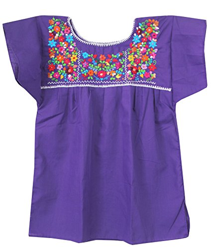 Mexican Embroidered Blouse (Mexican Peasant Puebla Blouse, Purple, Medium)
