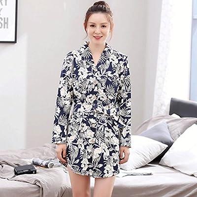 Albornoces GAOLILI Camisa de Manga Larga de Pijama de algodón con Mangas largas de algodón de la Falda Corta de Mediana Edad Sra. Home Gran tamaño: Amazon.es: Hogar