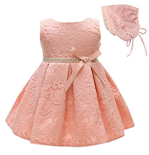 Greatop Baby Girls Dress Christening Baptism Party Formal Dress (Pink, 3M/0-6Month) ()